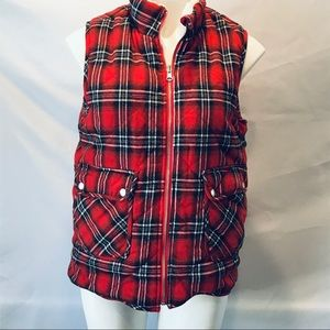 Entro- Plaid vest with Sherpa lining - reversible.